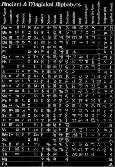Ancient and Magical Alphabet Alphabet A, Alphabet Symbols, Witches Alphabet, Persian Alphabet, Glyphs Symbols, Greek Alphabet, Ancient Alphabets, Ancient Symbols, Druid Symbols