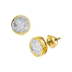 14k Yellow Gold Womens Princess Diamond Invisible-set Circle Screwback Stud Earrings 1/2 Cttw