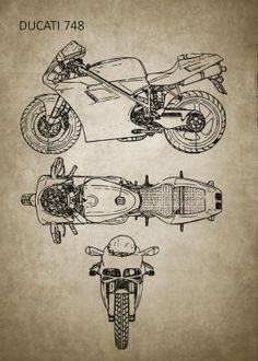 Motorcycle Art Mancave poster prints by Ihab Design Ducati 748, Ducati Superbike, Ducati Motorcycles, Motorcycle Tattoos, Motorcycle Art, Bike Art, Poster Art, Poster Prints, Art Posters