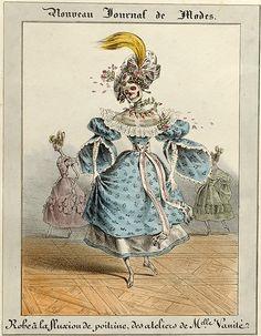30-10-11  Robe à la Fluxion de Poitrine, des Ateliers de Mademoiselle Vanité(The pneumonia dress from Miss Vanity's boutique)  Published by Maison Aubert in 1834 [Printmaker: Charles Philipon]