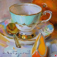 Teacup and Oranges by Elena Katsyura Oil ~ 6 in x 6 in