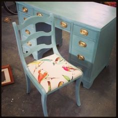 """Desk and Chair project with Richbloom- Birdwatcher Meadow fabric from Jo-Ann Fabric and Craft Stores. Annie Sloan's """"Duck Egg Blue"""" paint."""