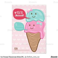 Ice Cream Classroom School Kids Valentine's Day 3.5x5 Paper Invitation Card