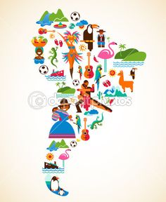 South America love - concept illustration with vector icons by Marish, via ShutterStock Love Posters, Travel Posters, Vintage Posters, South America Map, Latin America, Art Carte, Poster Prints, Art Prints, Thinking Day