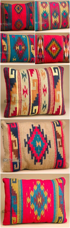 The colorful designs of Zapotec southwestern pillows makes them perfect for home decorating. Use them for country style or for western decor. Southwest pillows by the famous Zapotec Indians bring a fresh new look for cabin, lodge, log home or rustic cowboy, ranch, Indian or bunkhouse style.  See more at http://www.missiondelrey.com/southwest-zapotec-pillows-hand-woven/