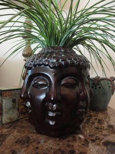 Art - Zen - Spiritual - Feng Shui - Buddha Head Planter - Ceramic - The Endless Face Design - Painted Dark