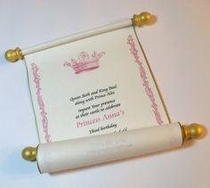 Royal birthday party scroll invitation for princess, medieval crown - set of 5 Royal Princess Birthday, Prince Birthday, Princess Tea Party, Princess Wedding, First Birthday Parties, Birthday Party Themes, First Birthdays, Birthday Ideas, 4th Birthday