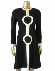 Black and White 1960s Op Art Dress