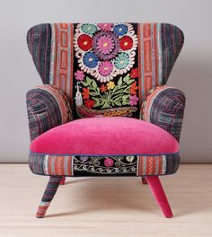 Suzani armchair pink fever by namedesignstudio on Etsy