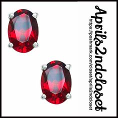 """EARRINGS Glam Red Garnet Sterling Silver Studs NEW WITH TAGS   EARRINGS Garnet Red Stone Sterling Silver Studs   * Prong set faceted oval garnet stone   * Each earring measures about 0.24"""" long  * Post Back; Sterling silver setting  # Glam Material: Sterling silver, garnet 1.12cwt Item: Color: Sterling Silver & garnet No Trades ✅ Offers Considered*/Bundle Discounts✅ *Please use the 'offer' button to submit an offer. Olivia Leone Jewelry Earrings"""