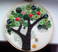 cute tree craft with buttons