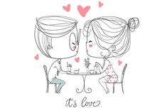 Cute girl and boy in cafe. by NatalyS on @creativemarket