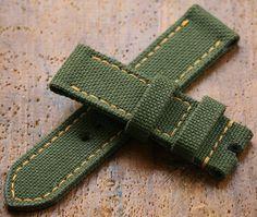 Green canvas strap Panerai Watch. Best suit Bronzo.