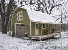 Cool multi-purpose small barn, love the colors and the porch