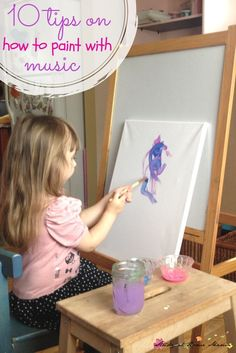 Ten Tips on How to Paint to Music with Kids. An open-ended, process art activity for kids.