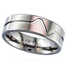 Geti Flat Titanium Heartbeat Ring
