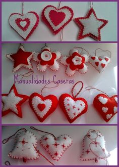 Manualidades Caseras Faciles Adornos Navideños Felt Christmas Decorations, Crochet Christmas Ornaments, Christmas Sewing, Christmas Embroidery, Felt Ornaments, Christmas Diy, Diy Xmas Gifts, Valentine Crafts, Felt Crafts