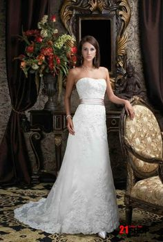 Ladies 2011 New and Cheap Embroider satin A-line Empire waist lacing up Backless Wedding dress with pink sash Travel