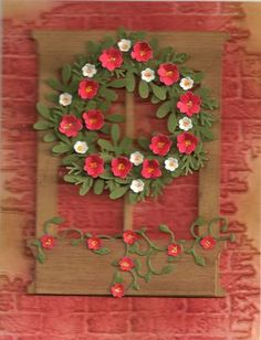 paper wreaths, window die, wreath idea, card window