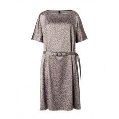 Vestito maniche corte, scollo rotondo, in tessuto operato, leggermente svasato, con cintura gioiello.4A4PSV4A5 GREY