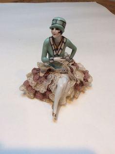 Antique Art Deco flapper porcelain pincushion doll,arms away, with legs
