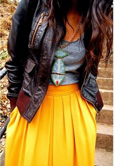 Attractive and stylish outfit, leather jacket, grey top and yellow long skirt... click on picture for more fashions