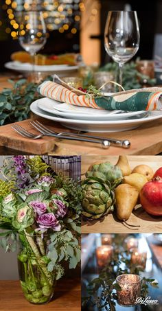 Four beautiful how-to decor ideas to make your Thanksgiving celebrations festive and delicious. 1. Rich, harvest-inspired color palette 2. Accent lighting that glows and sparkles 3. Landscaping your table with nature's bounty 4. Giving your place settings a personal touch #entertaining