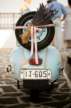 Love bikes? We've got you covered with this superbly restored retro Italian Vespa, for your wedding in Rhodes, Greece.