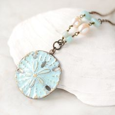 Blue Sand Dollar Necklace Gemstone Pearl by MoonHouseJewelry