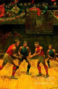 Rare early basketball memorabilia oil painting by P. Schaeffer circa 1920. Antique basketball memorabilia painting.