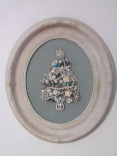 Christmas Tree Art made with Vintage Costume Jewelry in Vintage Oval Frame, Shabby Chic on Etsy, $75.00