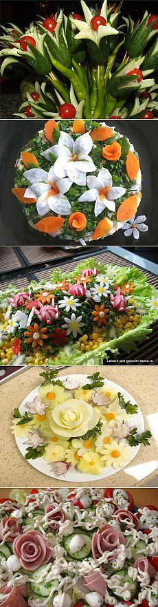 - A series of selections of salad dressing. Veggie Art, Fruit And Vegetable Carving, Cute Food, Good Food, Fruits Decoration, Food Carving, Food Garnishes, Edible Arrangements, Food Displays