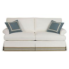 """Sofa Montrose 78"""" Skirted Sofas & Loveseats (3,845 CAD) ❤ liked on Polyvore featuring home, furniture, sofas, skirted sofa, patterned sofa, colored furniture, hand made furniture and handmade furniture"""