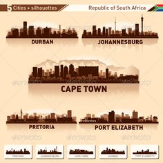 City Skyline Set South Africa Vector Silhouettes This is a set of 5 cities of the South Africa in the vector. Each city is made in three colors in shades of brown. It can be used for any design work associated with the city, skyline, citysca Johannesburg Skyline, Skyline Image, Africa Tattoos, Durban South Africa, Skyline Silhouette, Landscape Photography Tips, Urban Landscape, City Photo, Poster