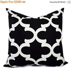 Black Quatrefoil Pillow Covers! Set of two black and white Moroccan tile decorative pillows. These couch pillow cushion covers fit a pillow insert sized between a 12 x 16 lumbar cover to a 26 x 26 euro sham and are 100% cotton. These geometric patterns would be a great addition to your modern living room! Coordinating fabrics are available here (see last picture):    https://www.etsy.com/listing/112729197/black-pillow-covers-black-and-white    *****This listing is for just the pillow…