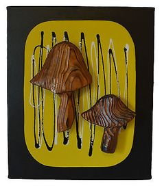 DANISH MID CENTURY MODERN WALL ART WITCO MUSHROOMS HAWAIIAN TIKI SCULPTURE