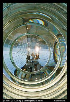 Oregon Lighthouses | ... /Photo: Light and lens inside Cape Blanco Lighthouse. Oregon, USA