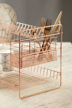 Next Rose Gold Two Tier Drainer – Gold - Kitchen Ideas Copper Kitchen Decor, Home Decor Kitchen, Kitchen Design, Rose Gold Decor, Gold Home Decor, Rose Gold Interior, Dish Drainers, Kitchen Items, Sofa Design