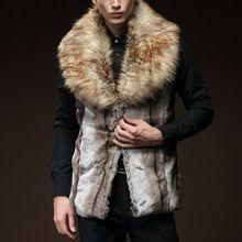 Nova Moda 2016 homens Faux Fur Vest Inverno Quente Sem Mangas Pele De coelho Colete Colete Fino Outerwear Jaqueta Plus Size 2XL Y1862(China (Mainland))