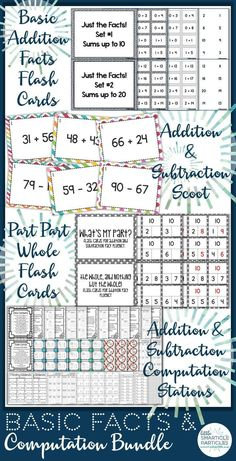 Basic Facts & Computation Bundle for Addition and Subtraction. 175 plus pages of flash cards and activities!