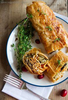 Tofu Skin Roulade w/ Sage Mushroom Stuffing & Red Wine Gravy (uses #Asian bean curd sheets)  #vegan (I see future recipe adaptions!)