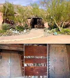 """DeGrazia said, """"The entrance was built like a mining tunnel. I like tunnels. The gate is the same as the Yuma prison gate."""" DeGrazia Gallery in the Sun open daily from 10-4; free admission. #NationalHistoricDistrict #DeGrazia #Artist #Ettore #Ted #GalleryInTheSun #Adobe #Architecture #Tucson #AZ #Catalinas #Desert #Mining #Tunnel #Entrance #Gate #Yuma #Prision #teddegrazia #galleryinthesun #degrazia"""