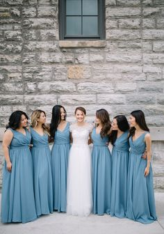 Salte blue bridesmaid dresses will complement any bridal gown. | Whims and Joy Photography