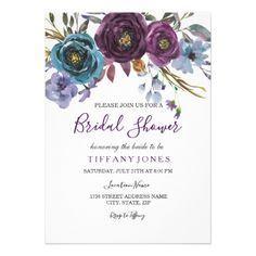 Purple Floral Watercolor Elegant Bridal Shower Card - wedding invitations diy cyo special idea personalize card