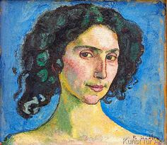 Ferdinand Hodler - F.Hodler/ Head study of an Italian woman