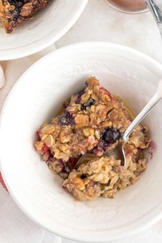 Baked Oatmeal is made with gluten free oats, fresh berries, frozen bananas, pure maple syrup, cinnamon, walnuts, coconut almond milk and eggs.  It's quick and easy to make and it tastes amazing. Frozen Banana, Healthy Oatmeal Recipes, Healthy Baking, Eat Healthy, Coconut Almond Milk, Oatmeal With Fruit, Harvest Kitchen, Baked Oatmeal Cups, Breakfast