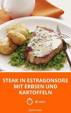 Steak in Estragonsoße mit Erbsen und Kartoffeln