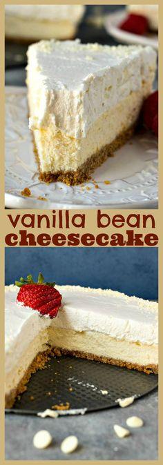 Vanilla Bean Cheesecake – Cheesecake made with vanilla beans and then layered with a vanilla bean white chocolate mousse. The creamiest, dreamiest cheesecake you've ever had! #recipe #cheesecake #vanillabean #dessert #cake