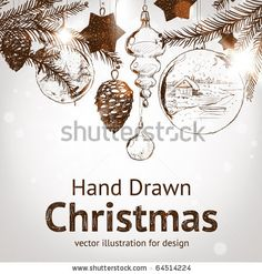 stock vector : Christmas hand drawn fur tree for xmas design. With balls, toys and fir-cone.