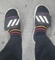 Adidas Samba, Adidas Gazelle, Slide Sandals, Adidas Sneakers, Socks, Fashion, Sandals, Moda, Fashion Styles